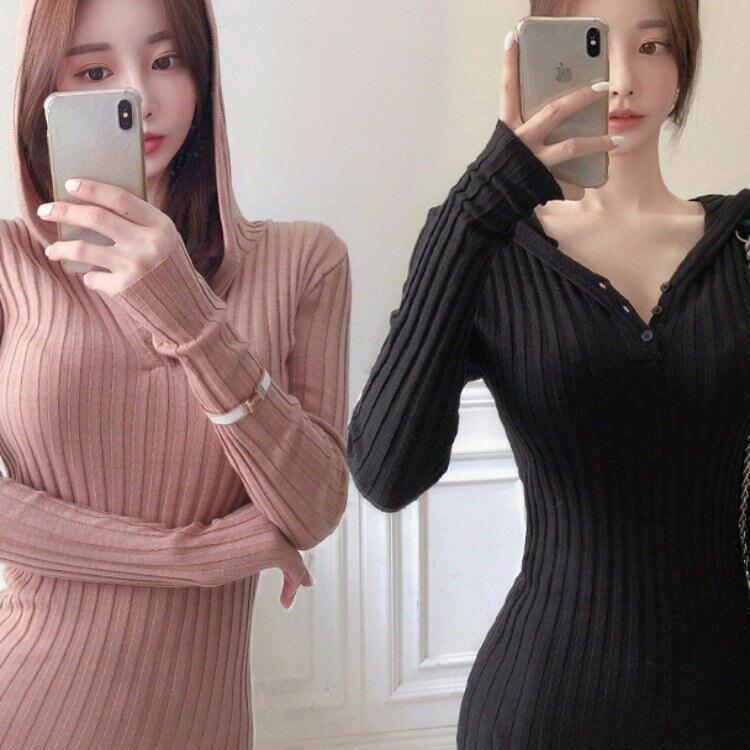 女裝冬季韓版修身顯瘦針織長袖連帽毛衣包臀連衣裙女