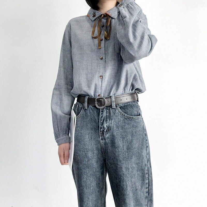 910027翻領長袖襯衣女秋冬新款文藝蝴蝶結繫帶刺繡小格子棉紗襯衫
