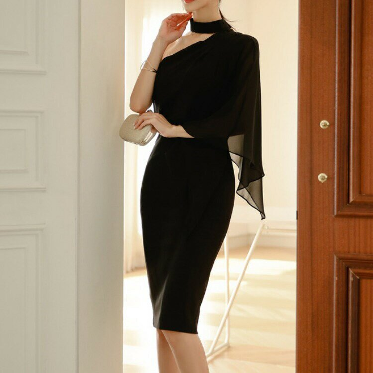 2021春冬新款韓版時尚氣質顯瘦酒會宴會禮服裙包臀性感連衣裙1989
