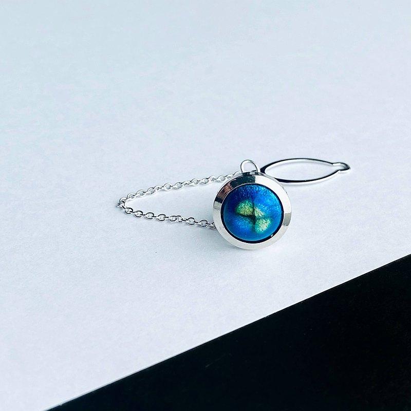 玻璃[海藍]景泰藍Titac Lapelpin純銀張景泰藍