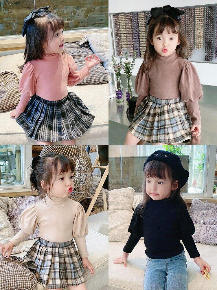 女童打底衫新款長袖高領洋氣泡泡袖韓版女寶寶上衣