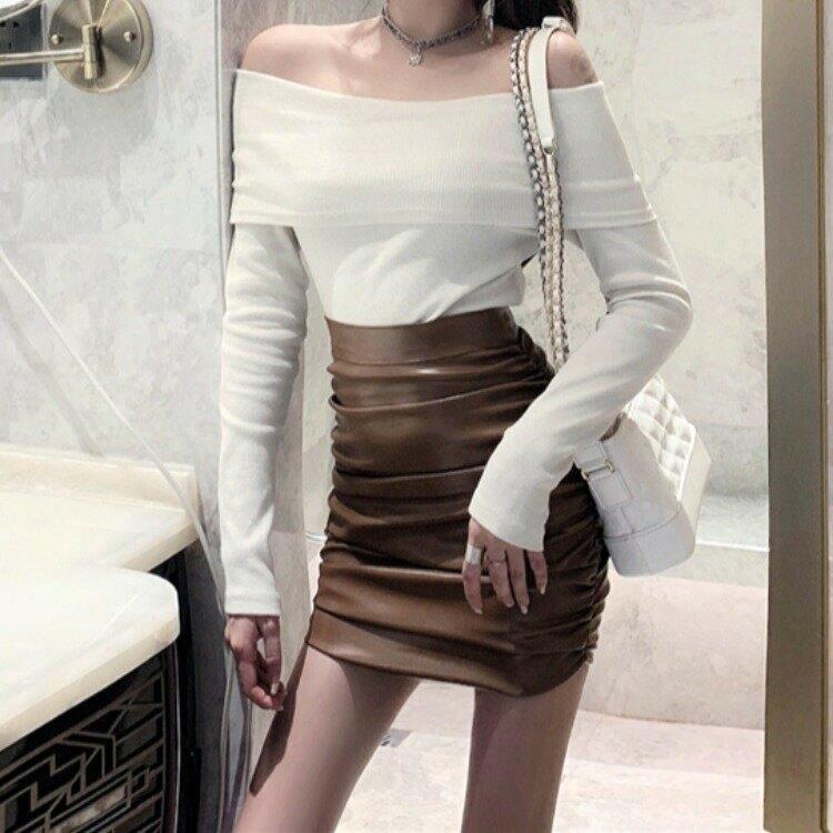 女裝2021新品一字領針織打底上衣+PU高腰顯瘦半裙M3406