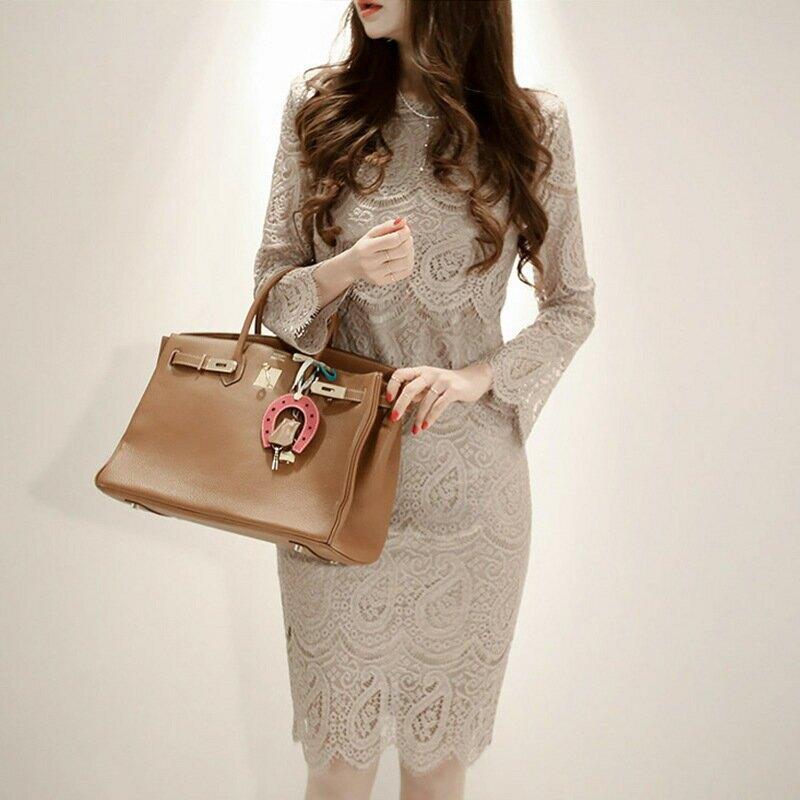 2021新款休閒名媛冬季韓版氣質蕾絲修身顯瘦收腰連衣裙