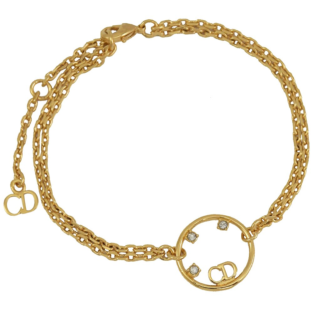 Christian Dior CD LOGO水鑽垂墜造型手鍊.金