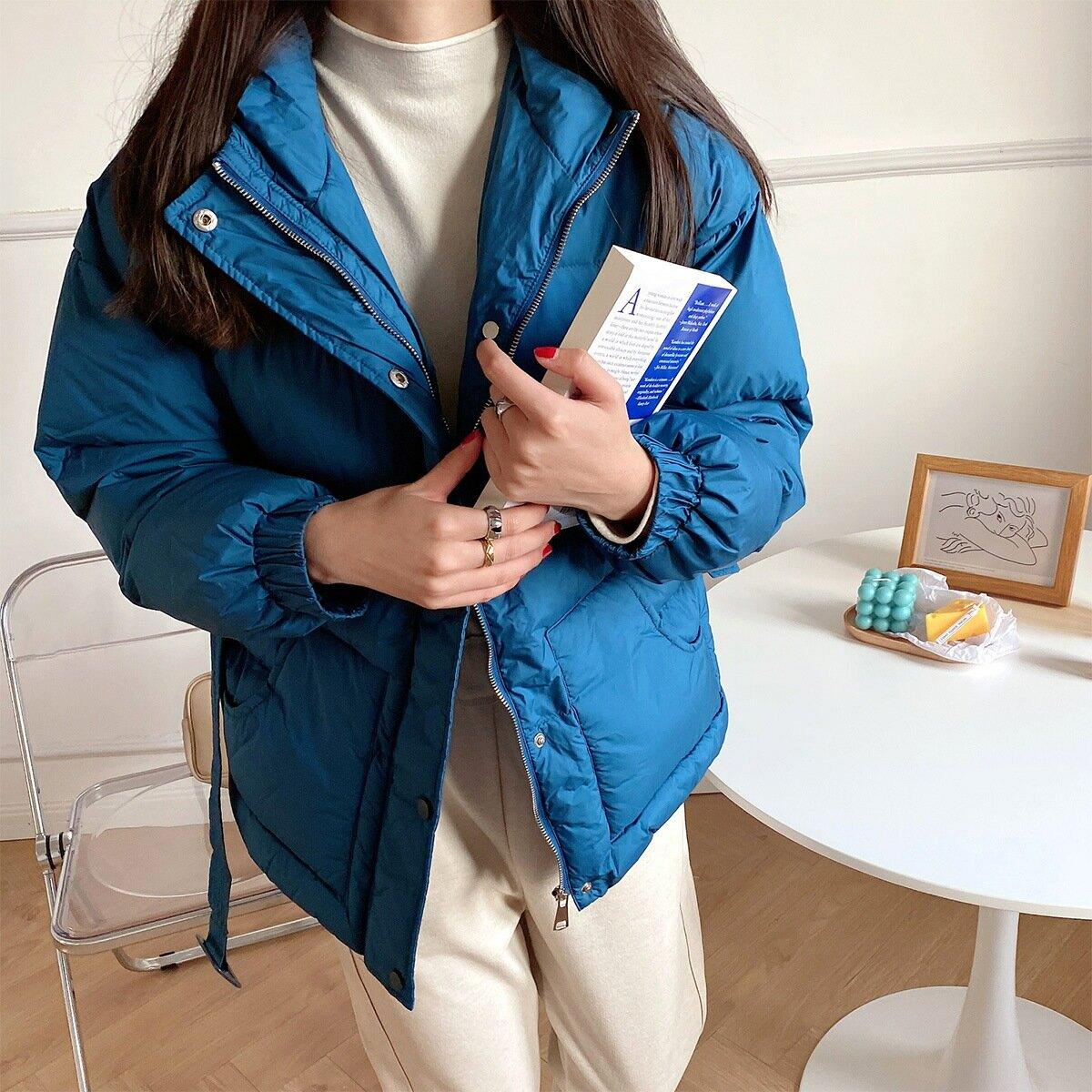 棉服女2021加厚保暖顯瘦連帽外套棉襖女秋冬學生面包服附腰帶