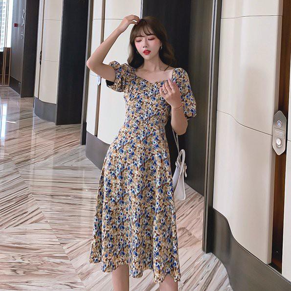 洋裝 碎花裙S-XL中長款印花泫雅風氣質裙子一字肩碎花連衣裙NA02D.3766愛尚依人