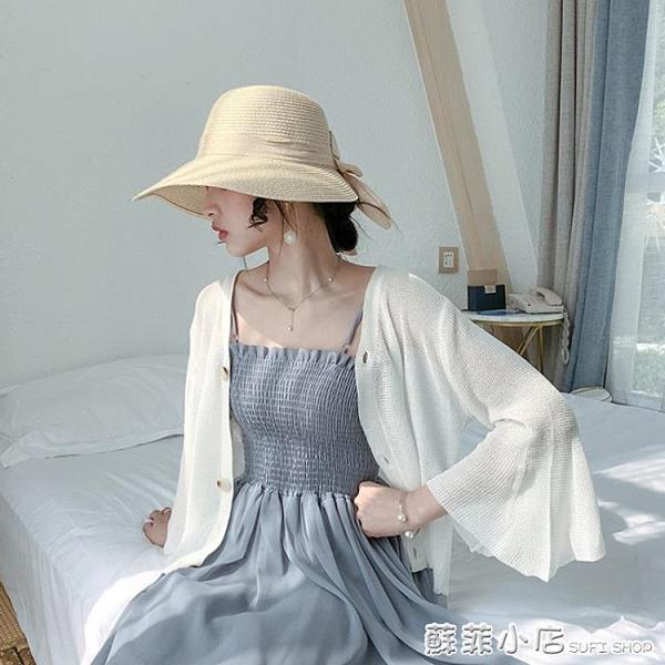 針織開衫女寬松外穿春夏季薄款鏤空外搭空調衫短款冰絲防曬衣外套 蘇菲小店