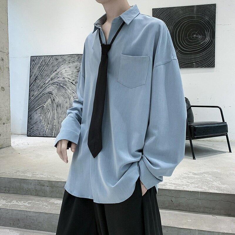 黑暗系男裝襯衫男長袖慵懶風痞帥襯衣禁慾系設計感上衣寸衫