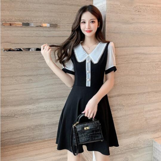 洋裝 連身裙 S-XL新款赫本風假兩件拼接修身顯瘦小黑裙G661A-9187.愛尚依人