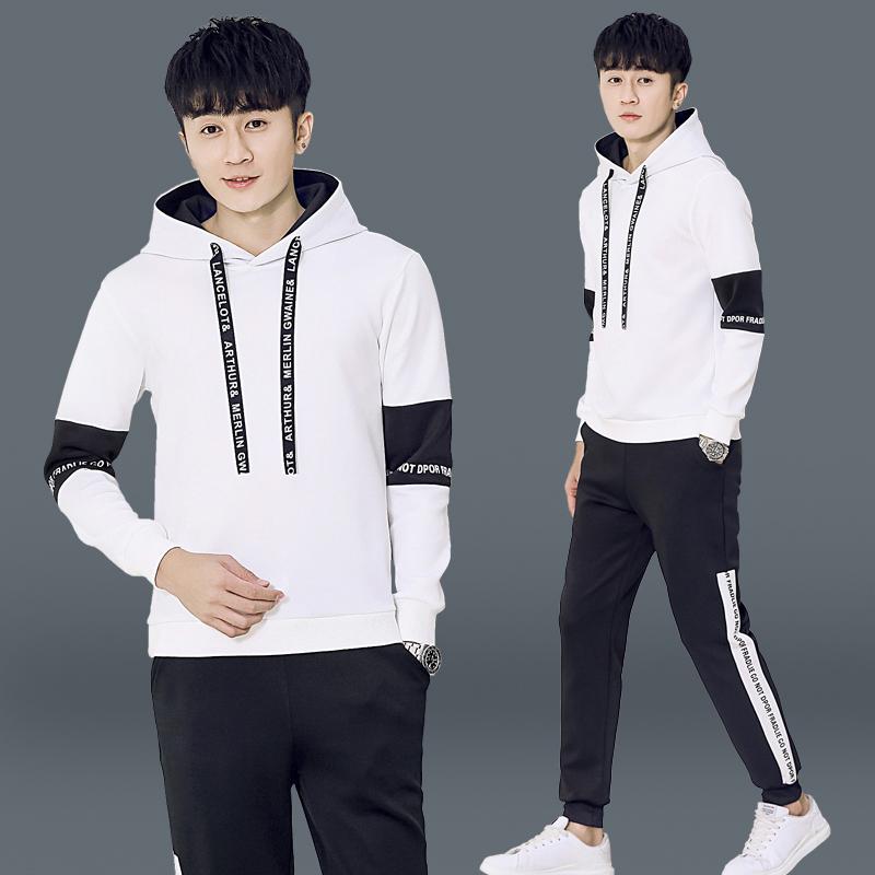 男士運動服 兩件套 休閒韓版連帽上衣 休閒運動褲 套裝 跑步籃球運動服 現貨 男生衣著