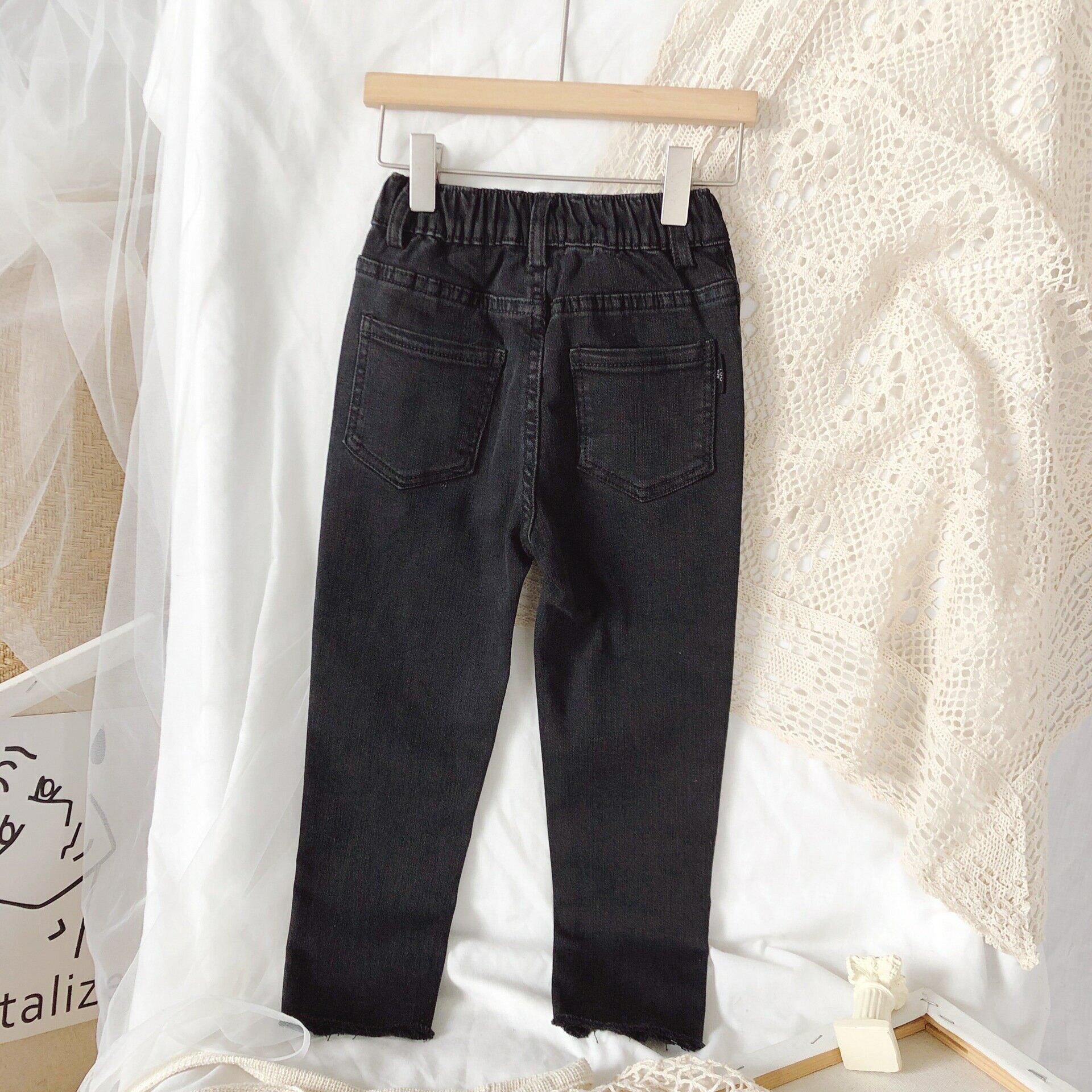 女童牛仔褲2020秋裝新款洋氣兒童中腰韓版時髦修身黑色小腳褲童褲