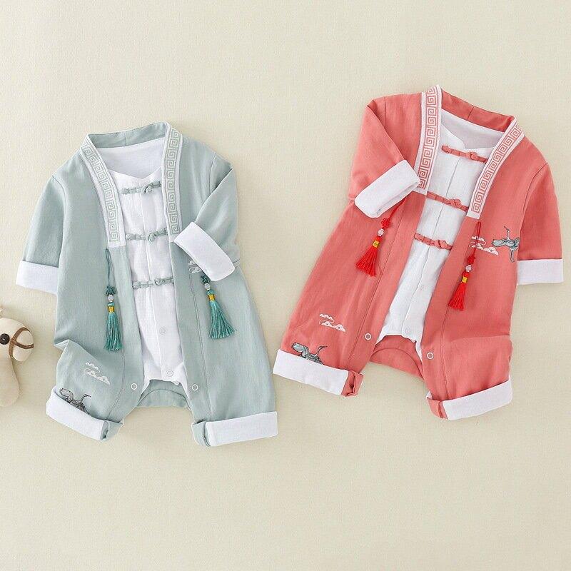 春秋新款嬰兒衣服百天祝福爬服生日慶祝連體衣