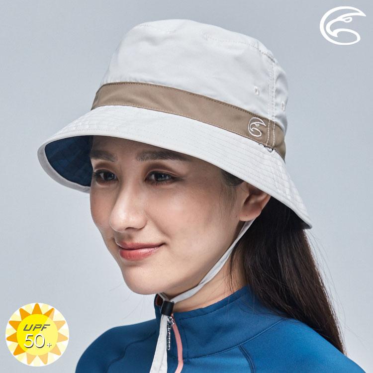 ADISI 抗UV透氣快乾撥水印花雙面戴漁夫帽 AH21007 / 淺米灰-海洋藍調