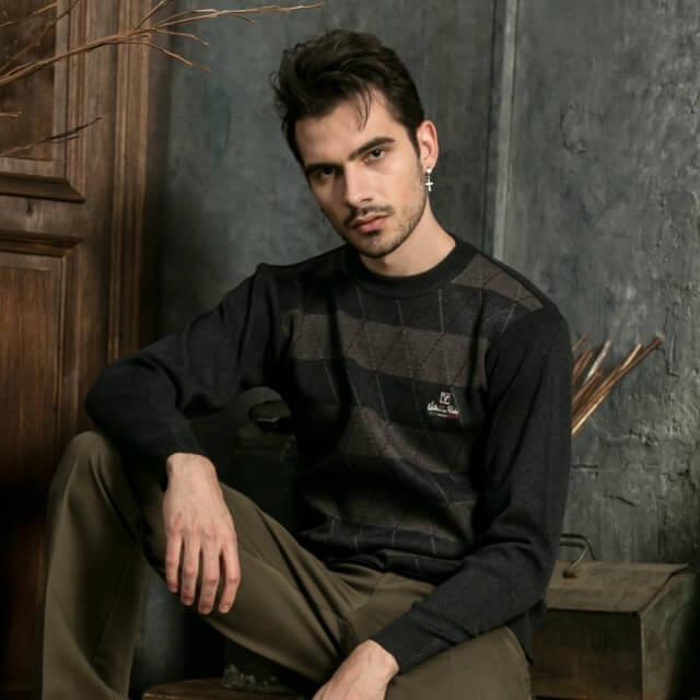 Valentino Rudy 范倫鐵諾.路迪 圓領條紋毛衣-棕灰條紋