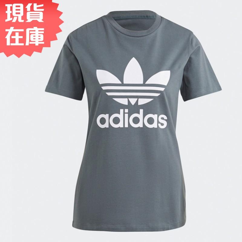 Adidas Originals ADICOLOR 女裝 短袖 休閒 棉質 三葉草 灰綠【運動世界】GN2903