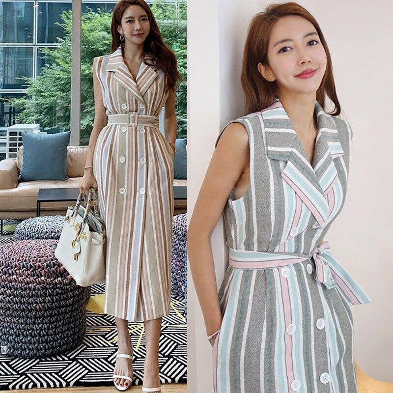 2021新款韓版氣質西裝領雙排扣條紋收腰連衣裙式風衣職業外套