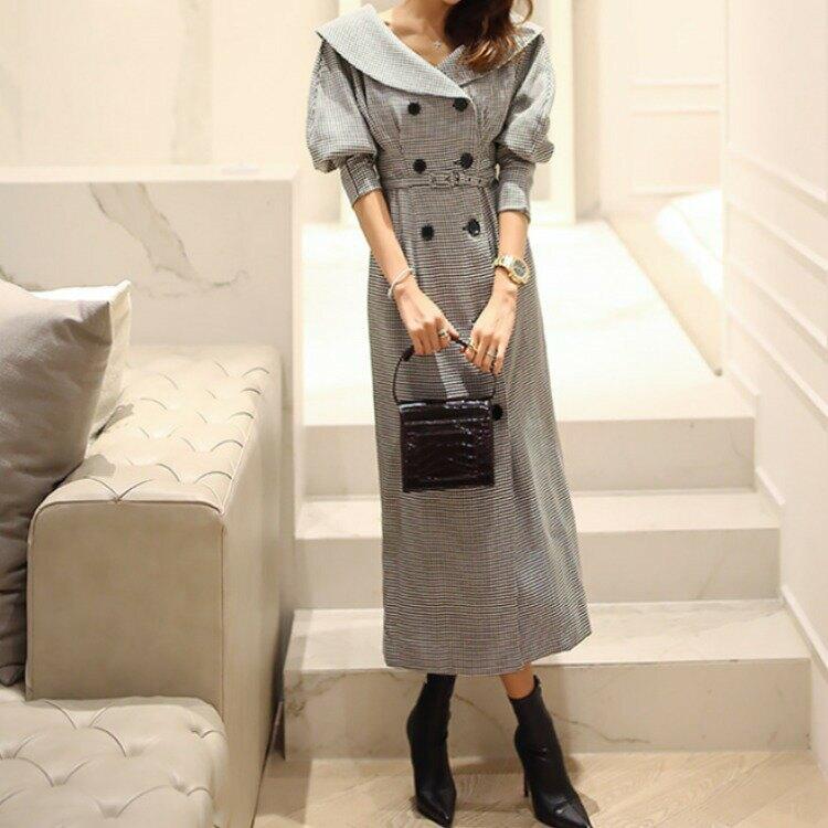 女裝2021秋冬韓版呢料修身顯瘦千鳥格長袖連衣裙外套 送皮帶
