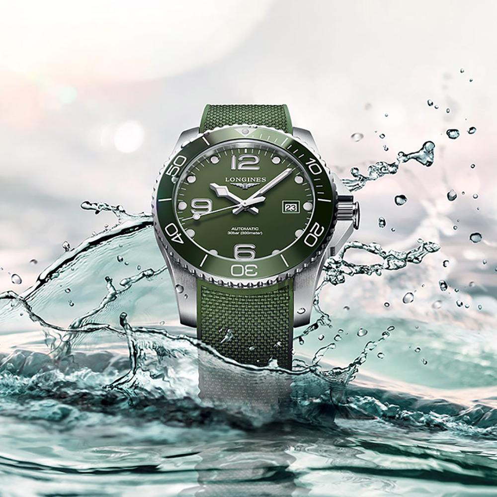 LONGINES 浪琴 深海征服者浪鬼陶瓷潛水機械錶-綠/43mm L37824069