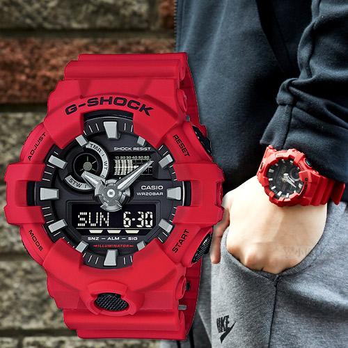 【下單抽・西堤雙人餐】G-SHOCK GA-700-4A 街頭潮流酷帥運動男錶/紅x黑面 GA-700-4ADR 手錶 熱賣中!