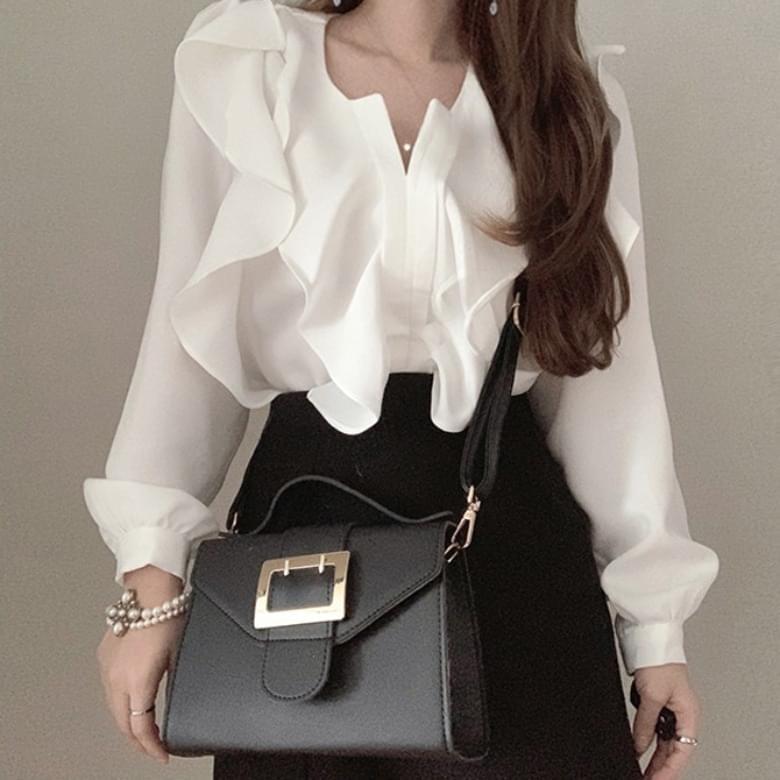 韓國空運 - Modern simple frill blouse shirt 襯衫