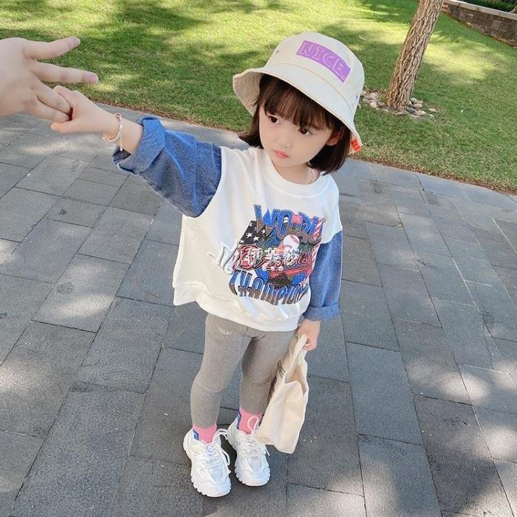 女童春款衛衣2021新款洋氣兒童女寶寶韓版拼接時尚上衣長袖潮