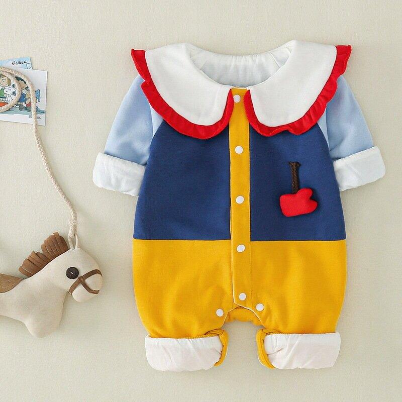 嬰兒連體衣新款女寶寶公主哈衣長袖雙層外出服寶寶衣服滿月拍照