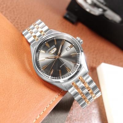 CITIZEN / 經典復刻 C7 機械錶 自動上鍊 不鏽鋼手錶-鐵灰x鍍玫瑰金/40mm