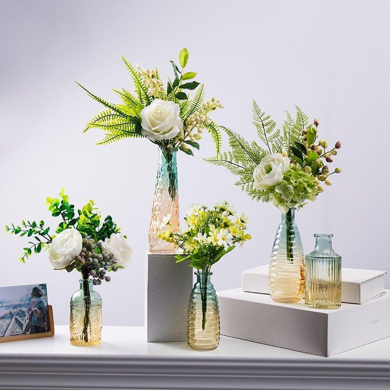 簡約北歐創意家居復古花瓶餐桌擺件客廳干花插花輕奢玻璃透明