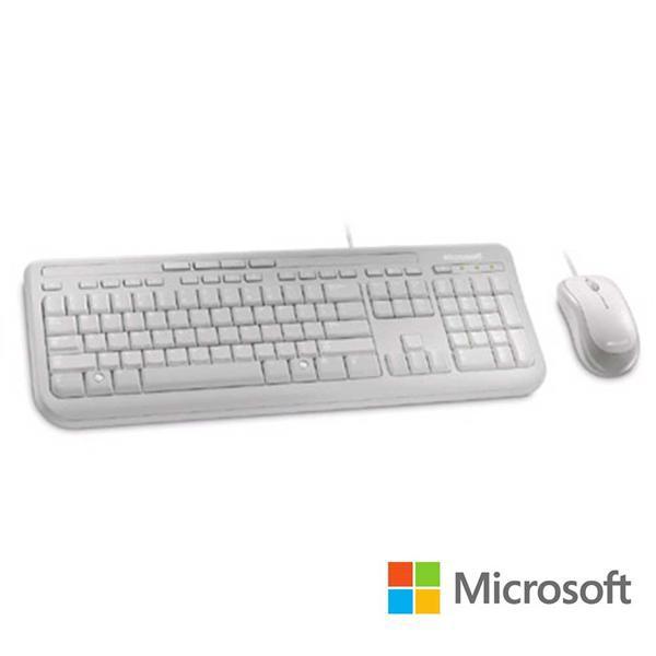 微軟 Microsoft 標準滑鼠鍵盤組 600 白 盒裝 防潑水 媒體鍵 隨插即用 滑鼠滾輪 光學技術 有線鍵盤 滑鼠