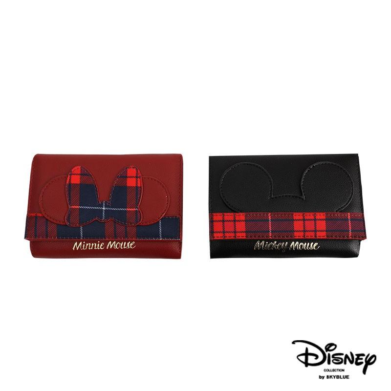 天藍小舖-迪士尼系列英倫搖滾米奇米妮款皮革中夾-共2色-A08081272