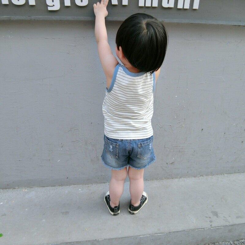 2020兒童韓版夏季新款背心寶寶全棉條紋印花無袖上衣潮