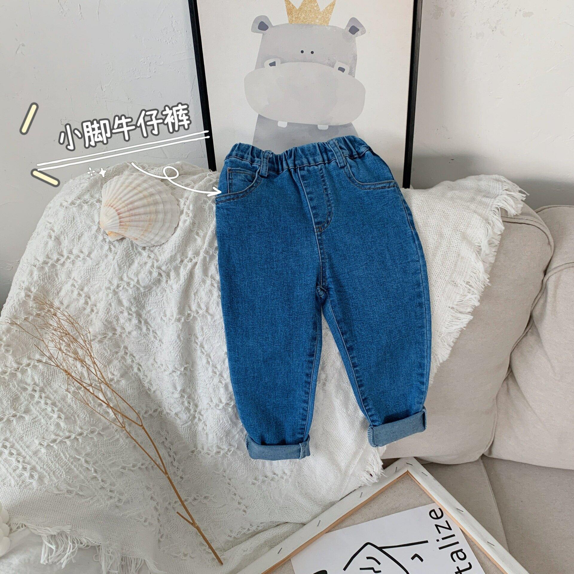 女童牛仔褲2021春季新款女寶寶韓版彈力童褲時尚九分小腳褲