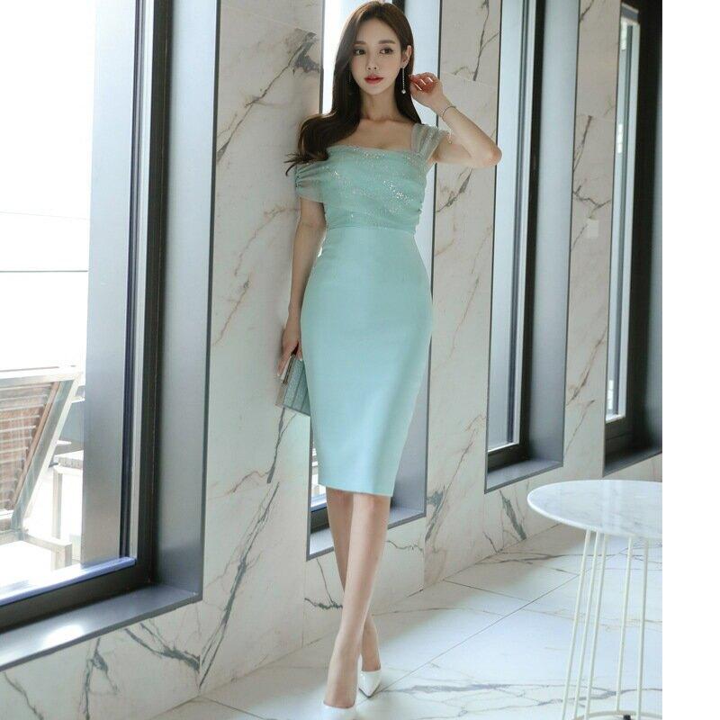2021春夏韓版時尚名媛氣質性感顯瘦包臀連衣裙斜肩吊帶打底裙