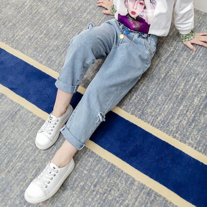 女童牛仔褲新款兒童休閒時髦洋氣褲子中大童爛破洞長褲潮