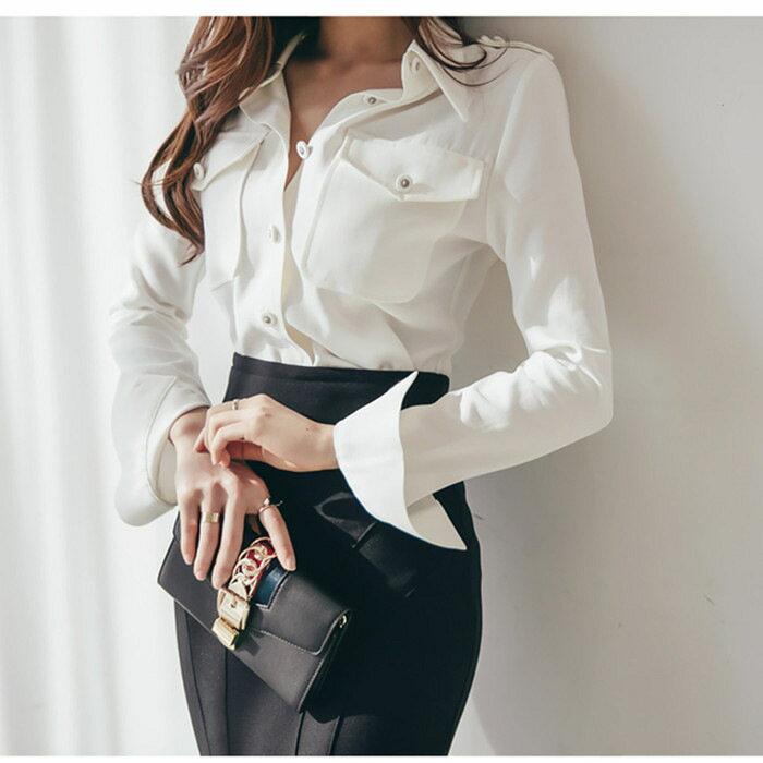 2021秋裝新款襯衫時尚大氣白領女裝性感韓版氣質淑女名媛上衣