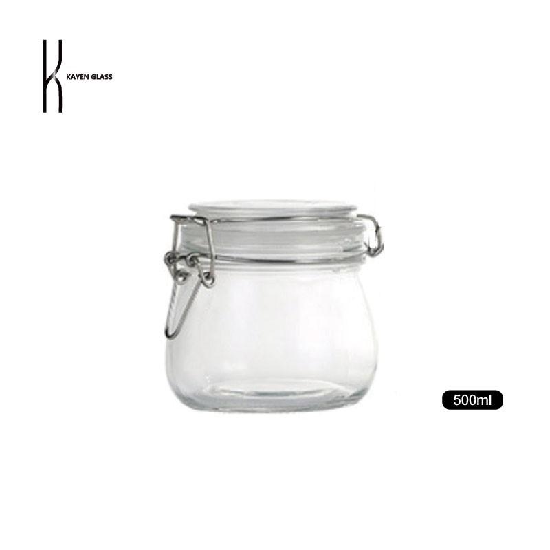 KAYEN不鏽鋼卡扣玻璃密封罐500ml 儲物罐 收納罐