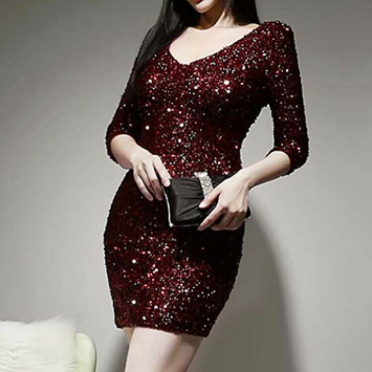 女裝2021新款名媛時尚金片繡氣質顯瘦禮服修身性感連衣裙女