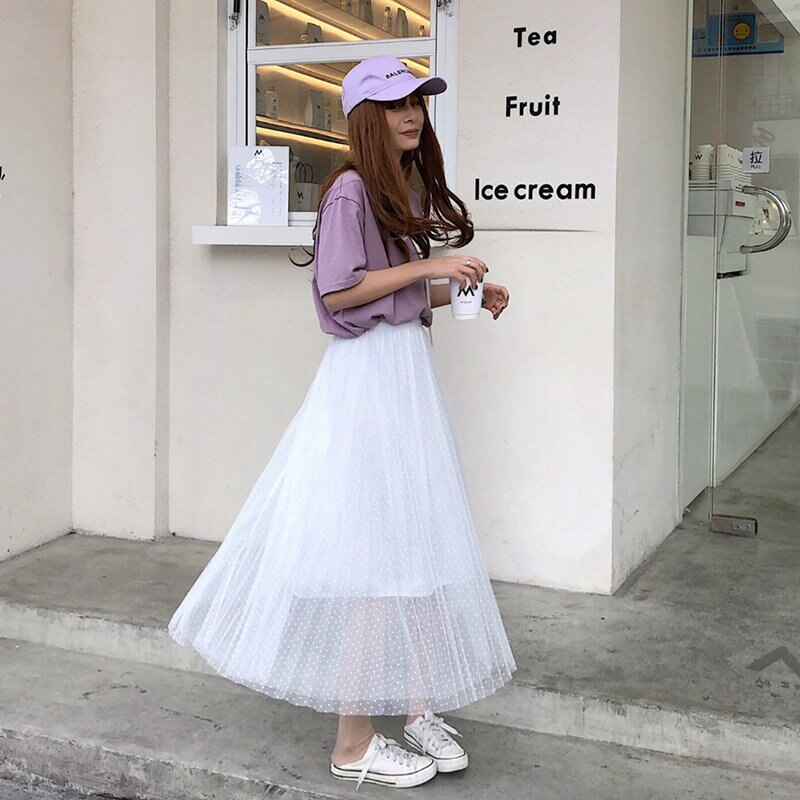 半身裙女2021春夏新款小點點高腰百褶中長網紗裙