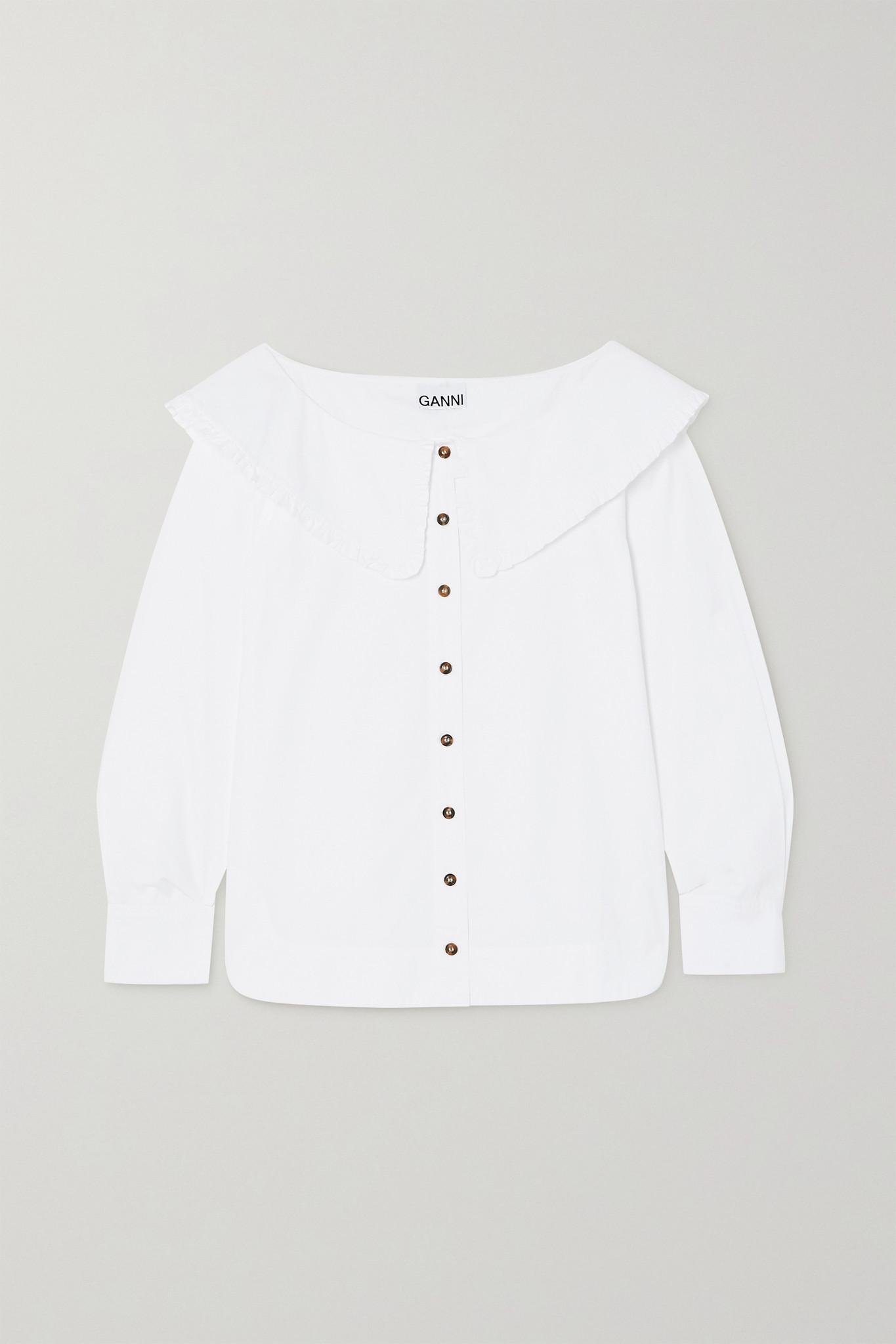 GANNI - 褶饰有机纯棉府绸女衫 - 白色 - DK40