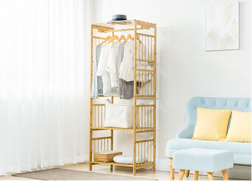衣架落地臥室現代簡約衣帽架落地實木創意組裝置物架挂衣架子