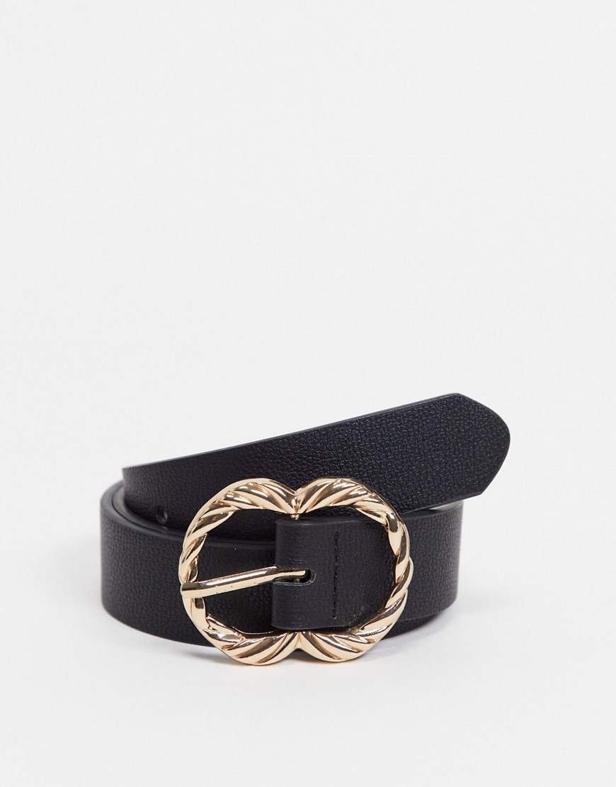 Stradivarius belt with gold twist buckle in black
