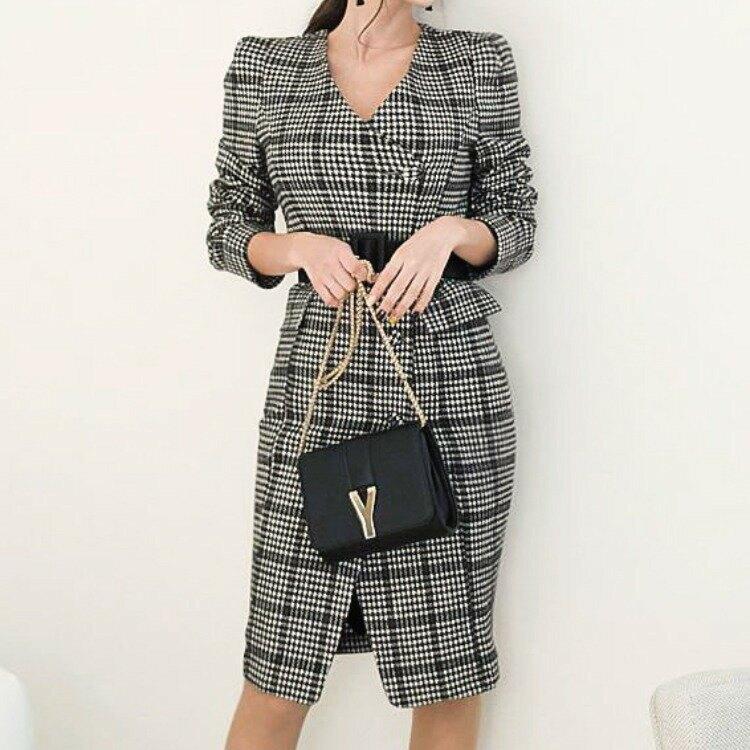女裝2021新款修身格子中長款外套V領連衣裙外套配皮帶9120