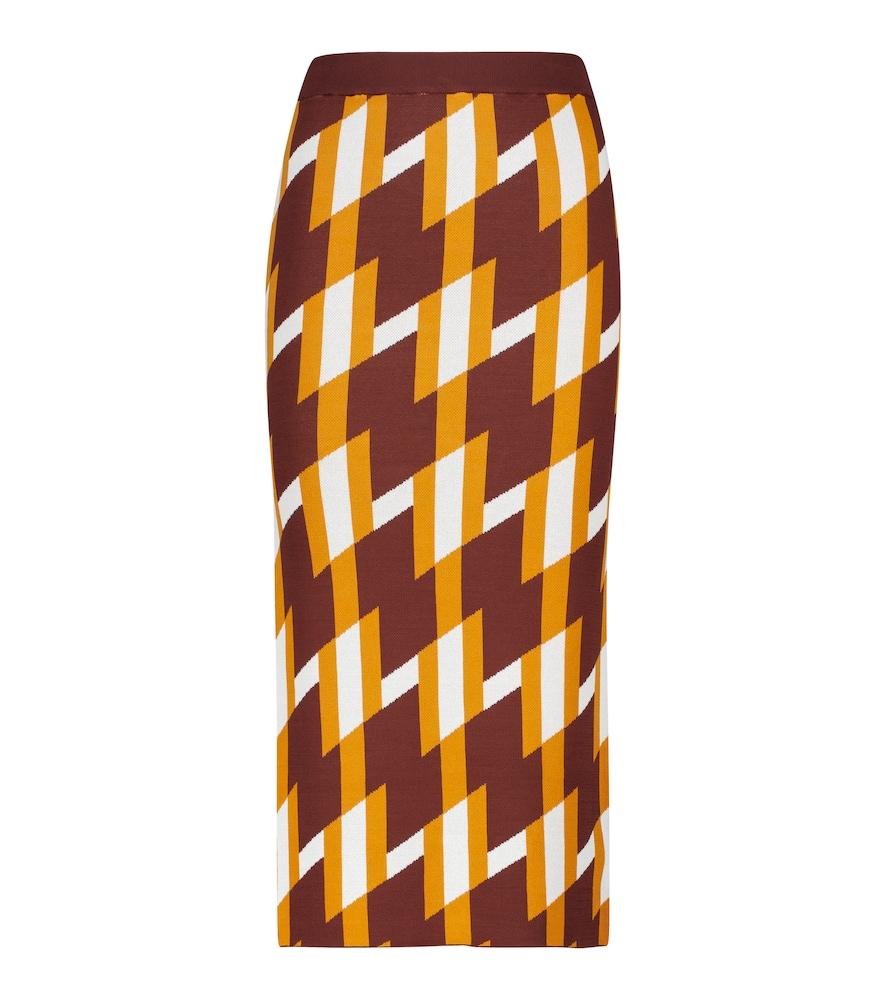 Jacquard knit maxi skirt