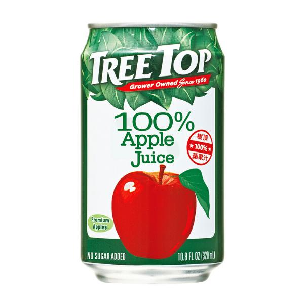 樹頂TREE TOP 100%蘋果汁 320ml x 24瓶(鋁罐)  免運費 果汁 水果汁 餐卷 瓶裝飲料 飲品  原汁 樹頂 (HS嚴選)
