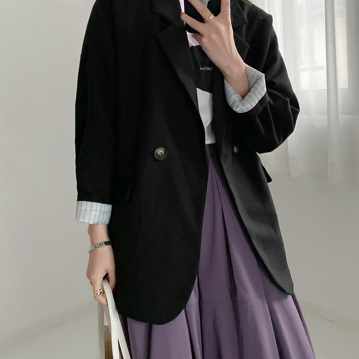 110214復古寬鬆廓形西裝外套女春秋季長袖純色時尚氣質休閒西服