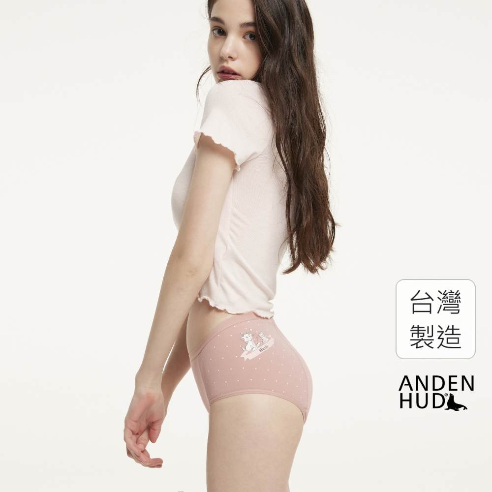【Anden Hud】XXL 迪士尼櫻花季.高腰生理褲(粉點點-瑪莉貓古瓷) 台灣製