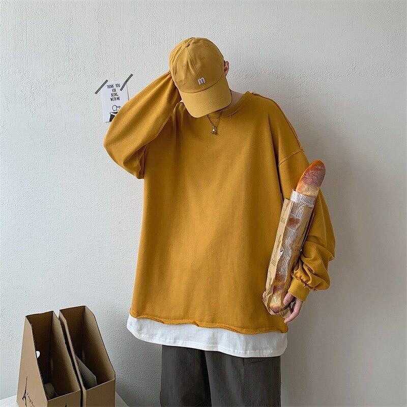 秋季ins潮牌撞色毛邊假兩件衛衣bf男生港風寬鬆潮流套頭上衣外套