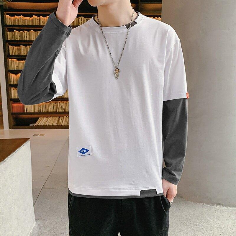 男士假兩件T恤春秋季韓版潮流拼色圓領體恤春裝休閒男裝潮牌上衣