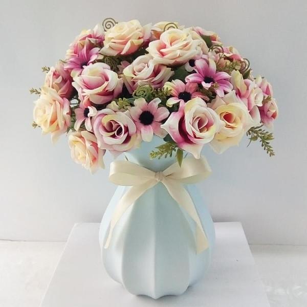簡約現代陶瓷乾花花瓶小清新客廳餐桌家居擺件插花鮮花水培花器  【端午節特惠】