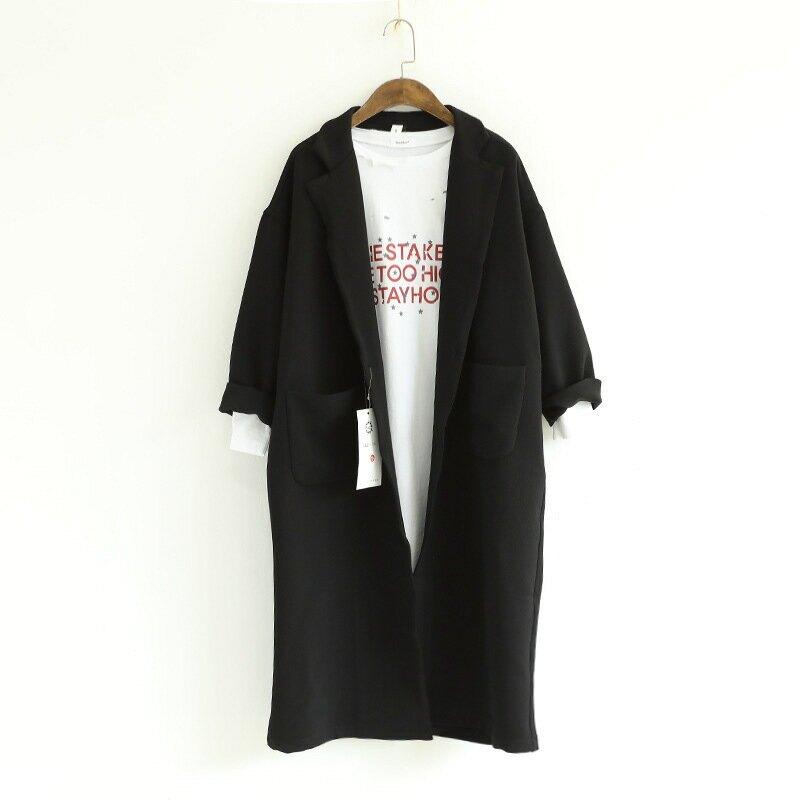 韓版時尚風秋季西裝領貼袋開叉斜紋純色中長款風衣外套女